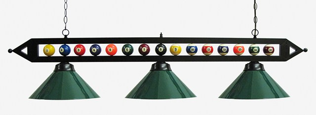 "59"" Black Metal Ball Design Pool Table Light Billiard lamp W Green Metal Shades"