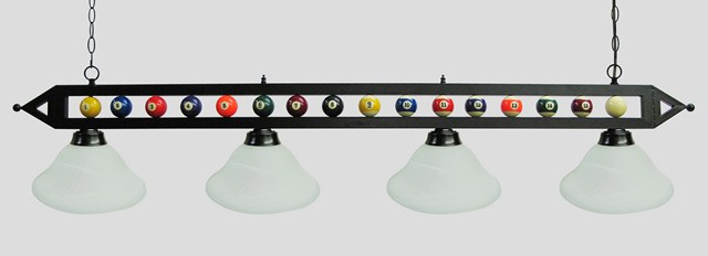 "72"" Black Metal Ball Design Pool Table Light Billiard lamp W White Glass Shades"