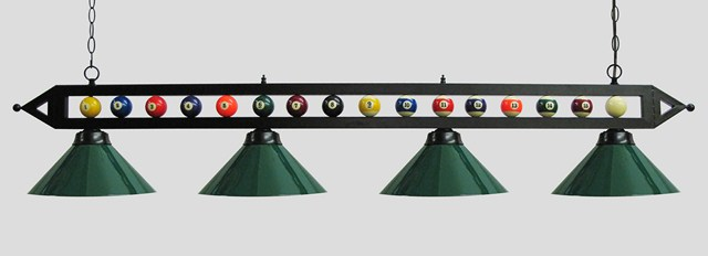 "72"" Black Metal Ball Design Pool Table Light Billiard lamp W Green Metal Shades"
