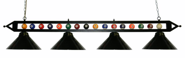 "72"" Black Metal Ball Design Pool Table Light Billiard lamp W Black Metal Shades"