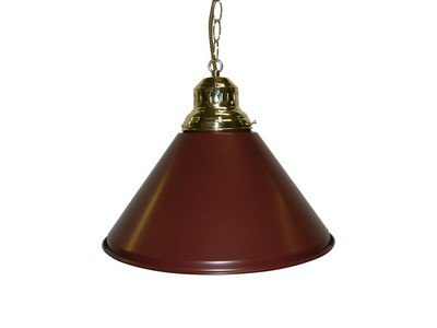Game Room- Bar - Billiard - Pool Table Light - Pendant Brass W Burgundy Metal Shade